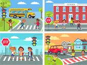 Schoolchildren cross road on pedestrian crossing in downtown, near school building, at calm neighbourhood and at common city road vector illustration. poster