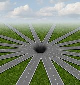 Pit hole or pothole unavoidable road of life concept and choices or strategies symbol represented by a network of roads and highways merging to a center crater or gap showing all options and paths available lead to a challenge as a 3D render. poster