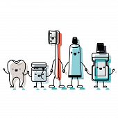 tooth and dental floss and toothbrush and toothpaste and mouthwash in cartoon holding hands in watercolor silhouette vector illustration poster