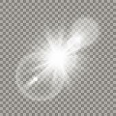 White lense flare effect. Transparent halo, glares and particles. Realistic light elements. poster