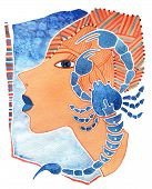 Face of girl as astrology symbol Scorpio on a pattern background poster