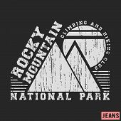 T-shirt print design. Rocky mountain vintage stamp. Printing and badge applique label t-shirts jeans casual wear. Vector illustration. poster