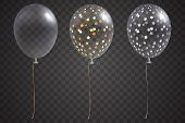 Three transparent balloons with gold and silver confetti inside. Isolated on transparent background. Vector festive helium balloons set. Holiday decoration element for your design. Eps 10 poster