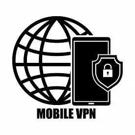 Smart phone tablet with app VPN creation Internet protocols for protection business private network. Vector illustration technology business online concept.