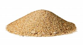 Cone Shaped Mound Of Dry Sand; Isolated On White.
