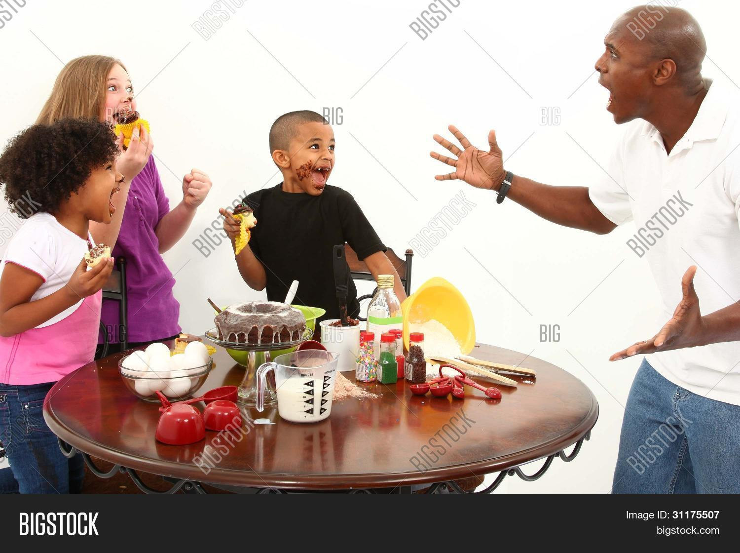 Interacial Classy angry dad finds kids making mess image & photo | bigstock