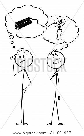 Vector Cartoon Stick Figure Drawing Conceptual Illustration Of Two Men Or Businessmen Thinking About