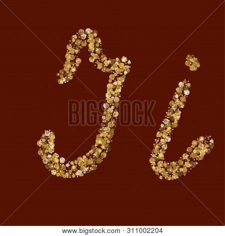 Liquid Gold Theme. Fresh Latin Alphabet. Kk Golden Glitter Letter. Handwritten, Smoot. Vector Abc. L