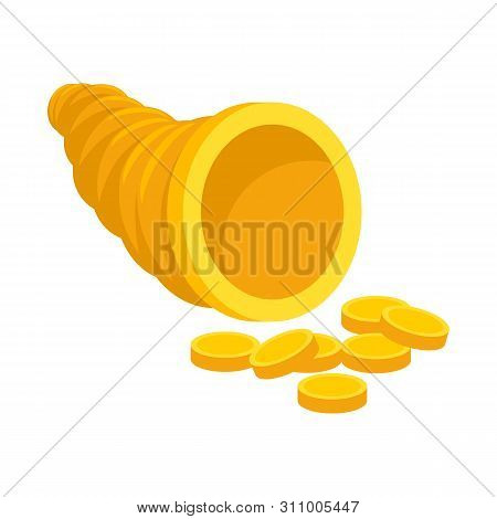 Vector Illustration Of Cornucopia And Money Icon. Collection Of Cornucopia And Gold Stock Symbol For