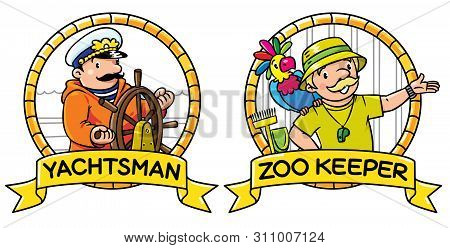 Abc Professions Set. Yachtsman And Zoo Keeper