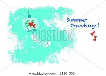 Wind chime with gold fish pattern for summer greetings, pastel drawing poster