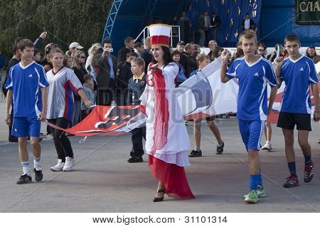 Woman, Dressed In The Colors Of Poland Co-hosting Euro 2012