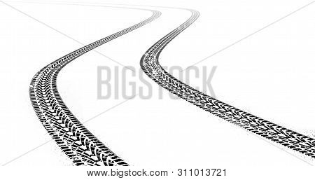 Dirty Grunge Tire Tracks On White Background