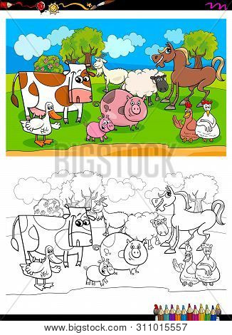 Cartoon Illustration Of Funny Farm Animal Characters Coloring Book Activity