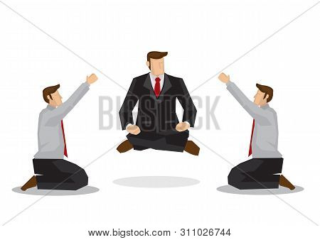 Two Businessmen Worshipping A Business Guru Floating Off The Ground. Business Metaphor. Concept Of S