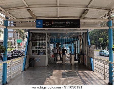 Jakarta, Indonesia - June 17, 2019: Gelora Bung Karno Bus Shelter In Senayan District.