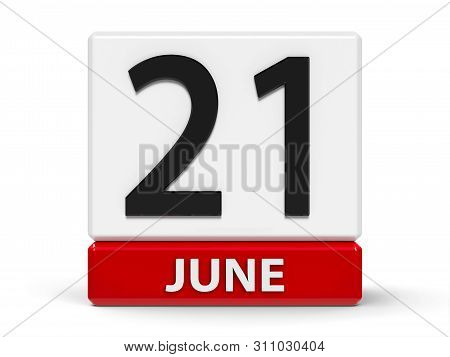 Red And White Calendar Icon From Cubes - The Twenty First Of June - On A White Table - Yoga Day, Go