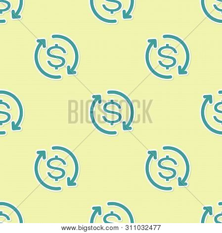 Green Return Of Investment Icon Isolated Seamless Pattern On Yellow Background. Money Convert Icon.