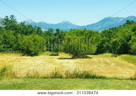 Bosnian Countryside Landscape On A Sunny Summer Day. Mountain Valley In Dinaric Alps. Bosnia And Her