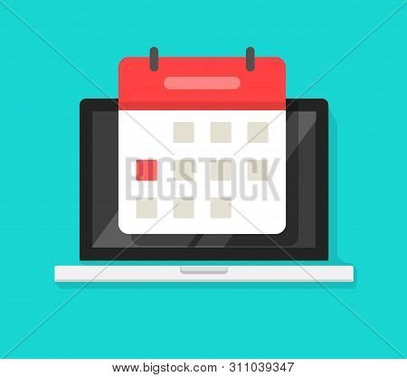 Calendar Or Agenda On Laptop Computer Screen Vector Icon, Flat Cartoon Online Organizer App On Pc Di
