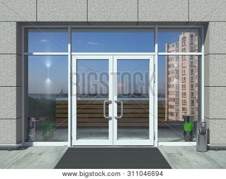 3d Illustration. The Facade Of A Modern Shopping Center Or Station, An Airport With Modern White Off