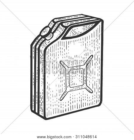 Gasoline Jerrycan Canister Sketch Engraving Vector Illustration. Scratch Board Style Imitation. Hand