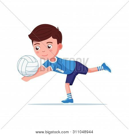 Boy Volleyball Player In Sportswear Plays With The Ball. Small Child Beats Off A Volleyball Ball In