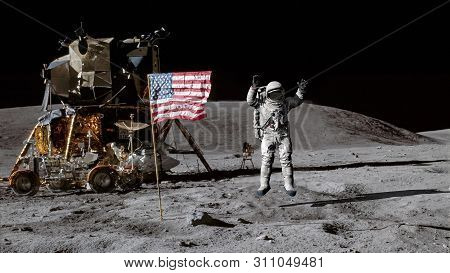 3d Rendering. Astronaut Jumping On The Moon And Saluting The American Flag. Cg Animation. Elements O