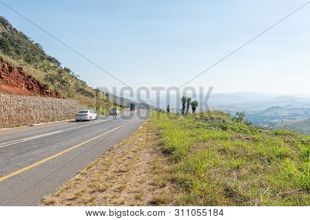 Badplaas, South Africa - May 2, 2019: A Road Landscape On The Nelshoogte Pass On Road R38 Between Ba