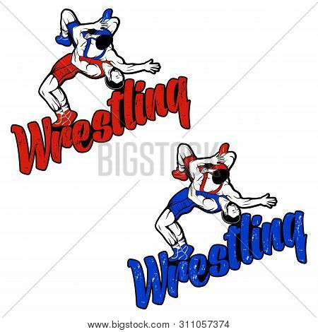Set Of Hand Drawn Sport Logos, Badges, Labels. Freestyle Wrestling Illustration. Sport Silhouette. W