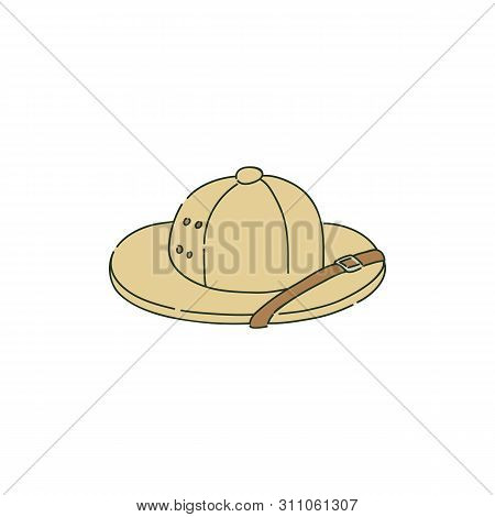 Colonial Pith Helmet Or Safari Hat In Sketch Style