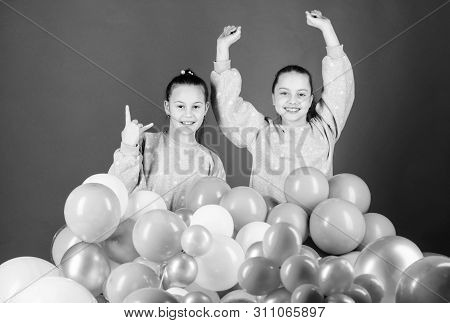 Sisters Organize Home Party. Greeting Concept. Having Fun Concept. Balloon Theme Party. Girls Friend