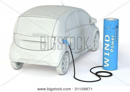 Bir E-araba pil benzin istasyonu - Rüzgar enerjisi yakıtlar