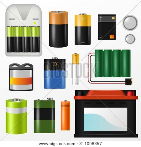 Battery Pile Of Power Alkaline Batteries And Battery-powered Or Battery-driven Illustration Set Of S