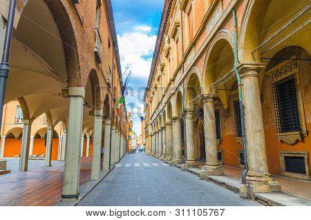 Typical Italian Street, Buildings With Columns, Palazzo Poggi Museum, Accademia Delle Scienze Since