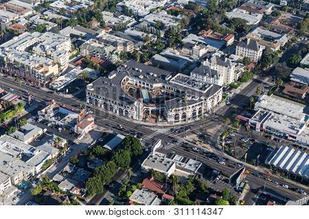 Los Angeles County, California, USA - August 6, 2016:  Aerial view of buildings at Sunset Blvd and Crescent Height Blvd in West Hollywood.