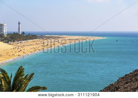 Aerial View Of Beach In Morro Del Jable Town (morro Jable Beach) On Fuerteventura Island, Canary Isl