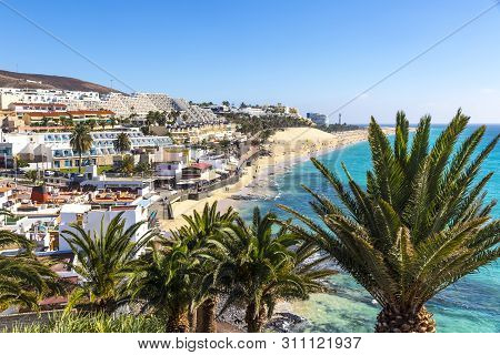 Picturesque View Of Morro Jable Beach On Fuerteventura Island, Canary Islands, Spain. One Of The Bes