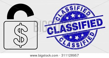 Vector Contour Bank Lock Icon And Classified Seal Stamp. Blue Round Textured Watermark With Classifi