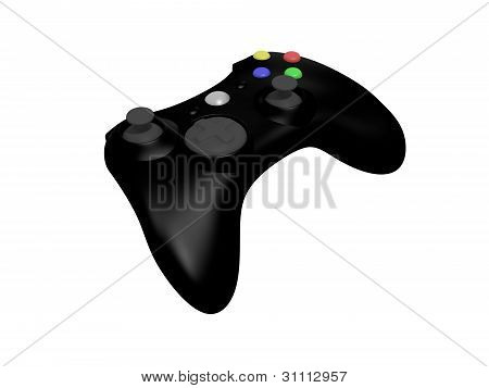 Black Video Game Controller On White