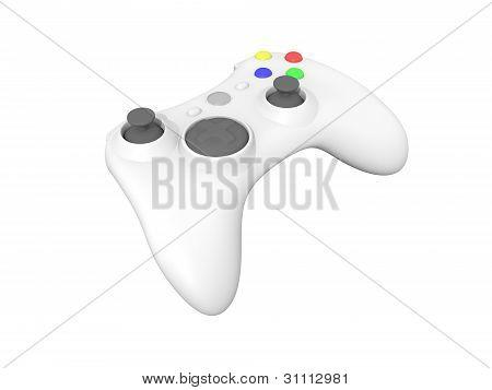 White Video Game Controller On White
