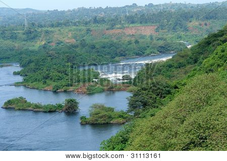 Aerial View Around Bujagali Falls In Africa