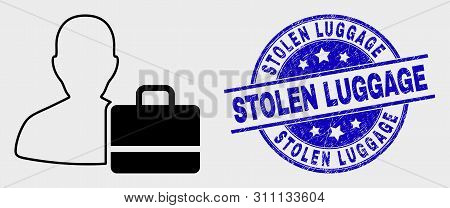 Vector Linear User Case Pictogram And Stolen Luggage Seal Stamp. Blue Rounded Distress Seal Stamp Wi