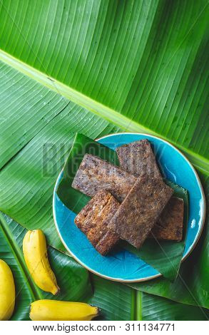 Easter Island Tahitian Polynesian Banana Pie Pupping Poe On Blue Plate On Banana Palm Tree Leaves