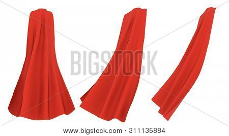 Superhero red cape isolated on white background. 3D rendering. Back view. Superpower concept.