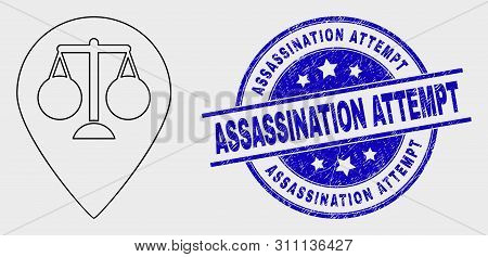 Vector Stroke Justice Map Marker Pictogram And Assassination Attempt Watermark. Blue Rounded Grunge