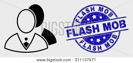 Vector Linear Managers Icon And Flash Mob Watermark. Blue Round Textured Stamp With Flash Mob Text.