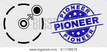 Vector Contour Move To Circle Perimeter Pictogram And Pioneer Stamp. Blue Rounded Distress Stamp Wit