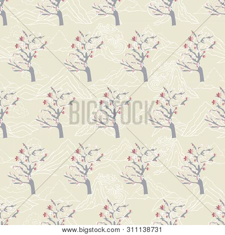 Vector Illustration Of Stylized, Abstract Cherry Blossom Trees And Clouds Resembling Dragon Tails At