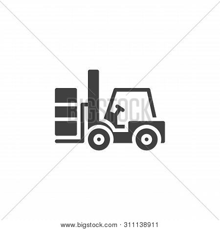 Forklift Truck Vector Icon. Lifting Machine Filled Flat Sign For Mobile Concept And Web Design. Load